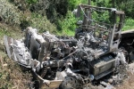 Xe container cháy rụi khi đổ đèo