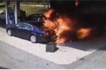 Cảnh sát mặc thường phục lao vào cây xăng cháy rực cứu người