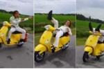 Choáng với clip nam thanh niên buông tay làm xiếc trên xe máy đang chạy