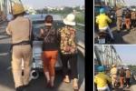 CSGT đội nắng giúp dân đẩy ô tô chết máy gây ấn tượng
