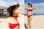 Hà Anh diện bikini đỏ rực khoe thân hình đồng hồ cát