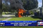 Galaxy Note 7 phát nổ, thiêu rụi một chiếc xe Jeep