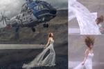 Rụng tim cảnh trực thăng lượn sát đầu cô dâu trong buổi chụp ảnh cưới