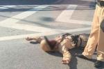 Truy tìm người tông cảnh sát giao thông gãy tay trên cầu Thanh Trì