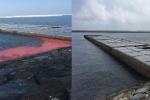 Vệt nước đỏ dài 50m bất thường ở cảng Vũng Áng