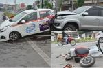 Xe Fortuner tông liên hoàn trên phố Hà Nội, 3 người nhập viện