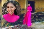 Á hậu Thanh Tú thướt tha trong tà ào dài màu hồng, học hát chèo