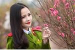 Hot girl CĐ Cảnh sát nhân dân I khoe nụ cười toả nắng bên vườn đào Nhật Tân
