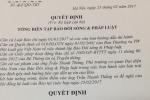 Cách chức, đề nghị thu thẻ nhà báo người gửi công văn cho ông Đoàn Ngọc Hải