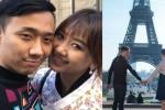 Trấn Thành nắm chặt tay Hari Won dưới chân tháp Eiffel