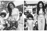 Danh hài Thúy Nga và con gái diện áo dài xưa gây ấn tượng