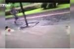 Đau tim cảnh em bé bị lũ dữ cuốn trôi trên phố