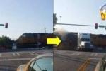 Xe tải mắc kẹt trên đường ray bị tàu hỏa đâm đứt lìa đầu