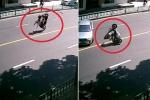 Xe máy chở ba người lộn nhào sau cú phanh gấp và cái kết bi hài