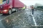 Xe tải lật ngửa, hơn 1,5 tấn cá vẫy vùng 'bơi cạn' trên cao tốc
