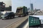Xe chở rác ngang nhiên phóng ngược chiều trên cầu vượt giữa Thủ đô