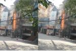 Cột điện bốc cháy ngùn ngụt trên phố Hà Nội
