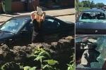 Hận tình, cô gái cầm đá ném vỡ kính xe sang BMW của bạn trai