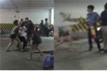 Hàng chục thiếu nữ ẩu đả trong hầm gửi xe, bảo vệ dùng bình cứu hỏa thị uy