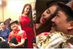 Nhã Phương diện đầm đỏ sexy, làm MC cho đêm diễn của Trường Giang tại Mỹ