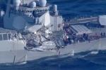 Chiến hạm Mỹ bị tàu chở hàng đâm thủng: Thuyền trưởng bị thương, 7 thủy thủ mất tích
