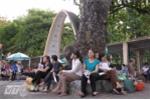 Các phụ huynh đợi thí sinh thi môn Toán tại điểm thi ĐH Bách Khoa Hà Nội - Ảnh: Tùng Đinh