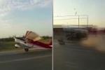 Tai nạn hy hữu: Đang trên đà cất cánh, máy bay đâm sầm vào ô tô
