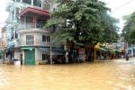 Nước sông Thao lên đột ngột, thành phố Yên Bái thành sông