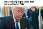 Xuất hiện 'tin vịt' ông Trump ký sắc lệnh miễn thị thực cho người châu Á