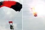 Lính dù nữ vướng vào dây điện cao thế, gây nổ kinh hoàng