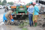 Cướp làn đường xe máy, container tông chết 2 người đàn ông