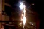 Cột điện cháy nổ như pháo hoa trong đêm ở Quảng Ninh