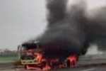 Video: Xe tải bốc cháy dữ dội trên cao tốc Hà Nội – Hải Phòng