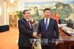 Đồng chí Đinh Thế Huynh hội kiến Tổng Bí thư Đảng Cộng sản Trung Quốc