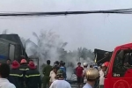 Cháy lớn ở Bến Tre, 1 căn nhà và 4 xe tải bị thiêu rụi