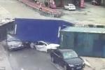 Video: Container mất lái, nghiền nát 3 ô tô trong chớp mắt