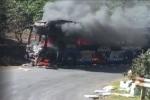 Xe khách cháy đỏ rực khi đang đổ đèo Phú Sơn