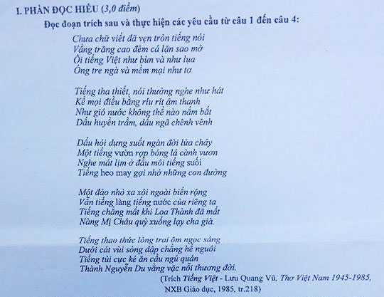 Tranh cai de thi Ngu van, Bo GD-DT phan hoi: Trich dan tho Luu Quang Vu khong sai hinh anh 1