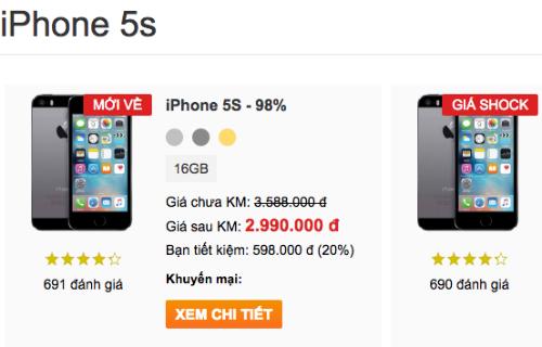 iPhone 5s xach tay giam gia manh, xuong duoi muc 3 trieu dong hinh anh 2