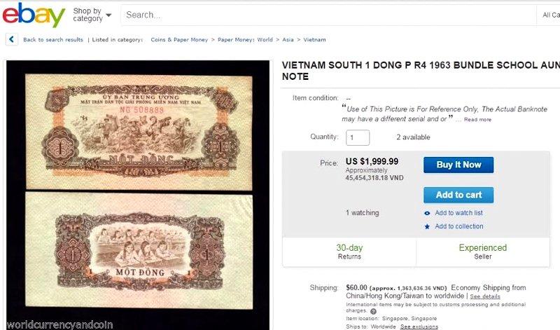 Tien cu 1 dong Viet Nam 'het gia' 45,5 trieu dong tren eBay hinh anh 1