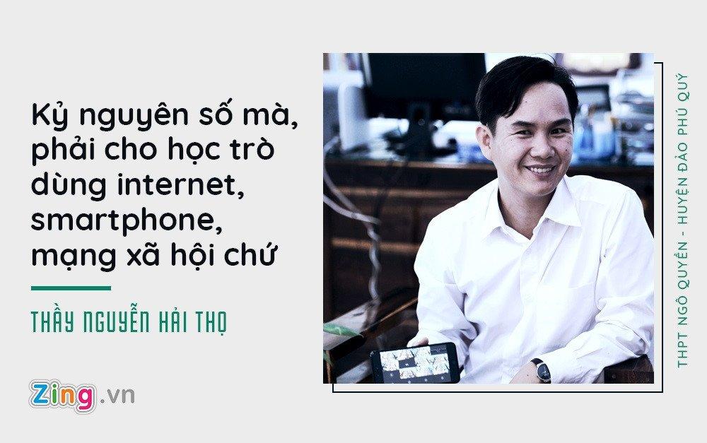 Hieu truong o Phu Quoc cho hoc sinh dung dien thoai, trang diem khi toi truong hinh anh 1
