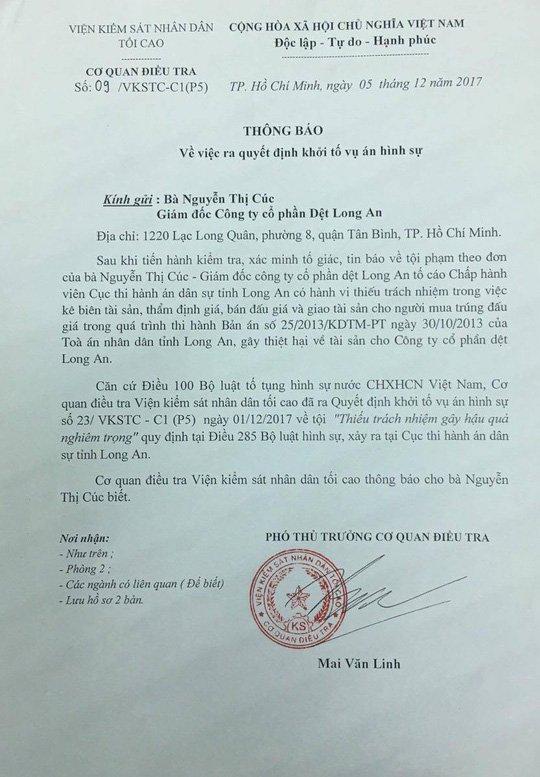 Nu giam doc to Cuc truong Thi hanh an dan su Long An ky quyet dinh sai quy trinh hinh anh 1