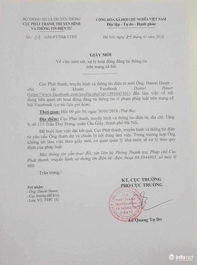 Ong Daniel Hauer khong co mat theo giay moi lam viec cua Bo Thong tin Truyen thong hinh anh 2