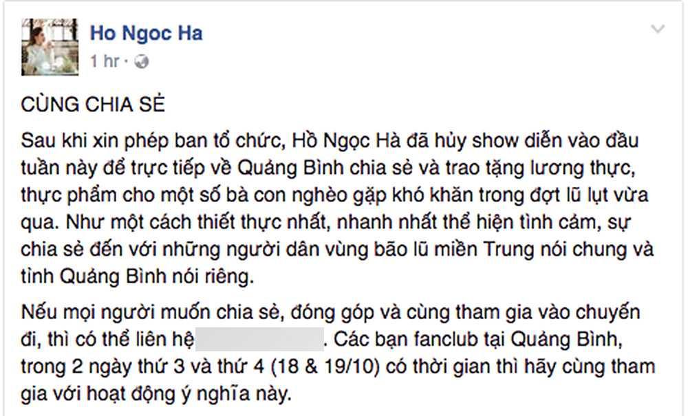 Ho Ngoc Ha huy show, ve que Quang Binh trao qua cho dong bao vung bao lu hinh anh 1
