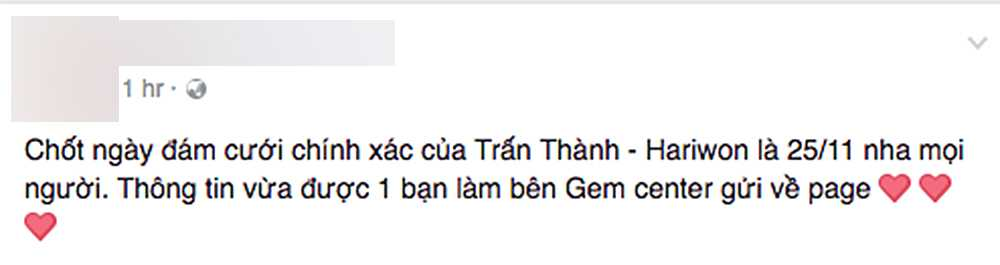 Ro tin don ket hon voi Tran Thanh ngay 25/11, quan ly cua Hari Won len tieng hinh anh 2