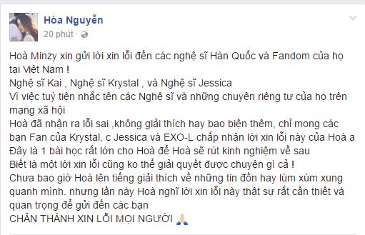 Hoa Minzy viet thu xin loi cong dong fan Kpop hinh anh 2