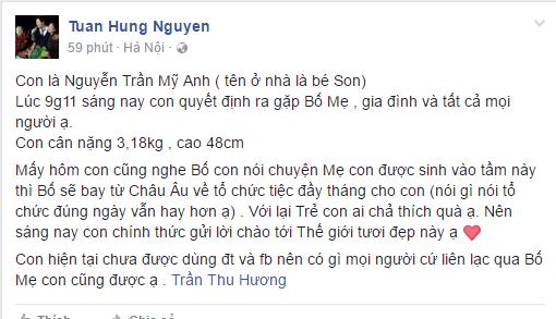 Tuan Hung hanh phuc don con gai chao doi hinh anh 1