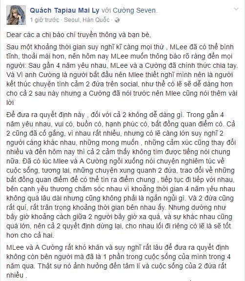 Fan 'soc' khi Cuong Seven va MLee chia tay sau 4 nam yeu nhau hinh anh 2
