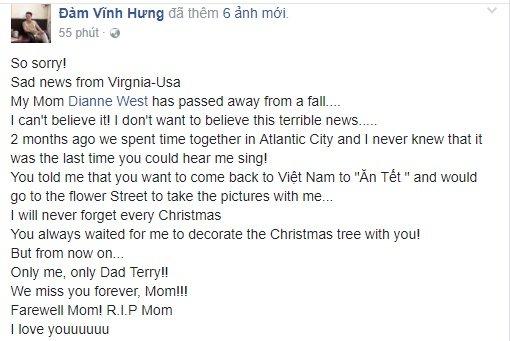 Dam Vinh Hung dau buon khi me nuoi qua doi hinh anh 1