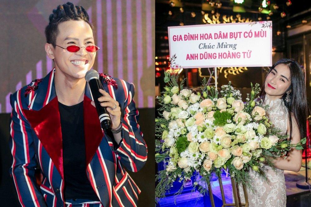Mai Tien Dung cuoi ngat khi duoc Hoa Minzy tang hoa theo cach cuc 'lay' hinh anh 1